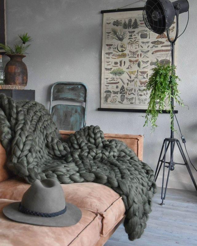 Grof gebreid plaid Merino wol.