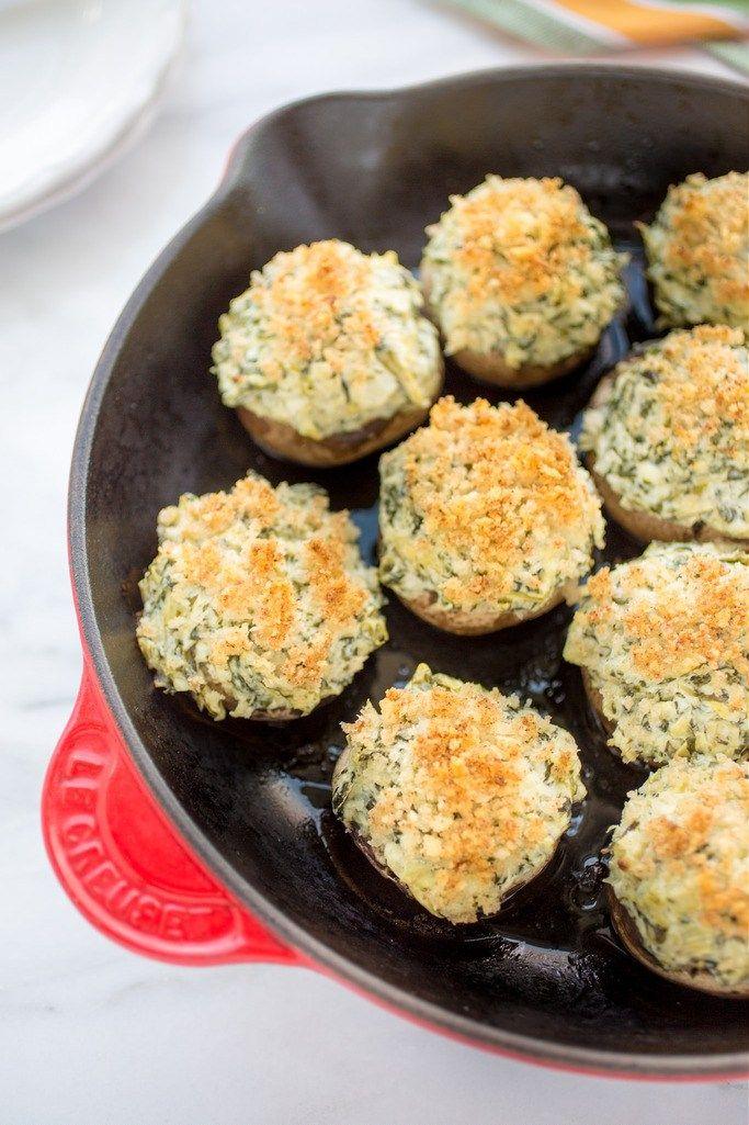 Spinach and Artichoke Stuffed Mushrooms | Striped Spatula