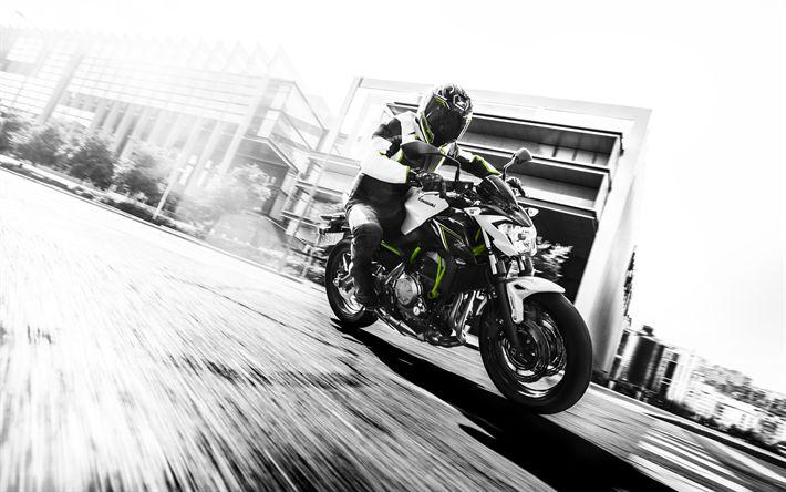 Télécharger fonds d'écran 4k, Kawasaki Z650, coureur, superbikes, en 2017, des vélos, des japonais de motos, Kawasaki