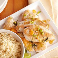 Lime and Tangerine Chicken Breasts - switching couscous for salad with orange & strawberries.