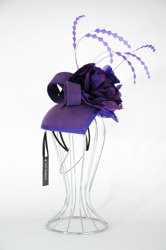 NWT  May Roberts  Purple Felt Headpiece With Feathers - Spring Racing Wedding