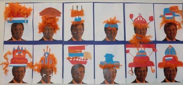 * Maak een mooie hoed voor de koning! Laat de kinderen zelf met allerlei materiaal een mooie hoed knutselen.