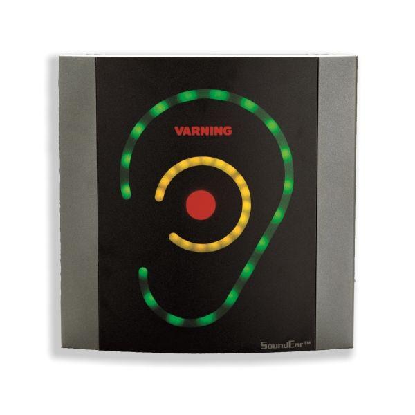 http://www.termometer.se/Handinstrument/Ljudmatning/SoundEar.html  SoundEar - Termometer.se  SoundEar presenterar en klart och tydlig visuell varning så snart buller överskrider en användaren valt gränsvärde. Barn och vuxna kan lätt förstå varningssymbolen så att omedelbara åtgärder kan vidtas. SounEar fästes på väggen och drivs från batterieliminatorn som medföljer.  Detta är en snygg designad bullermätare för att sätta på väggen i varje kontor, skola rum eller på fabriken...