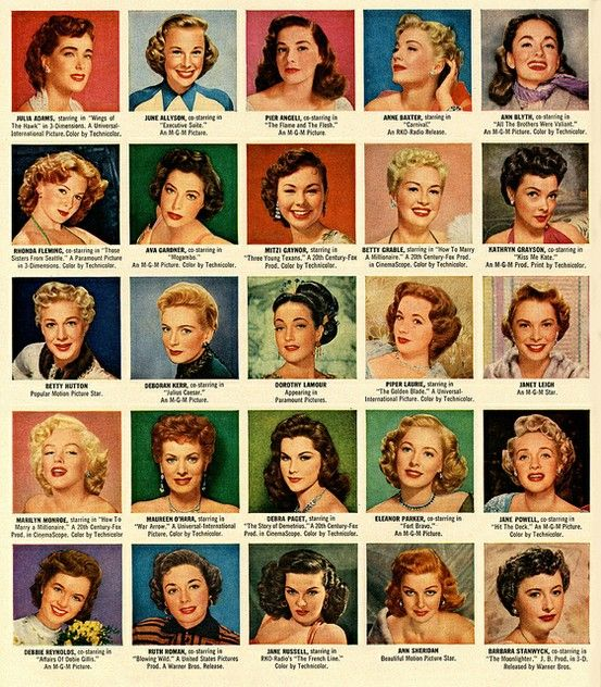 A look at some hair styles from 1953 with this Hollywood Star directory
