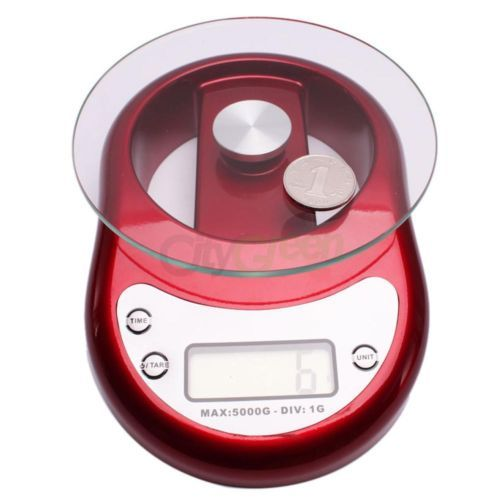 5000g/5Kg/1g Electronic Digital Kitchen Scale Diet Food Weighing Balance Clock