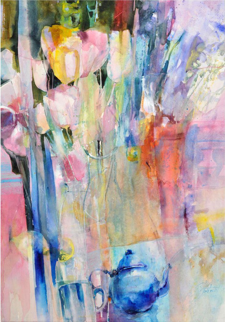 MarieLine MONTECOT  Socit Franaise de lAquarelle  watercolor flowers  Art aquarelle