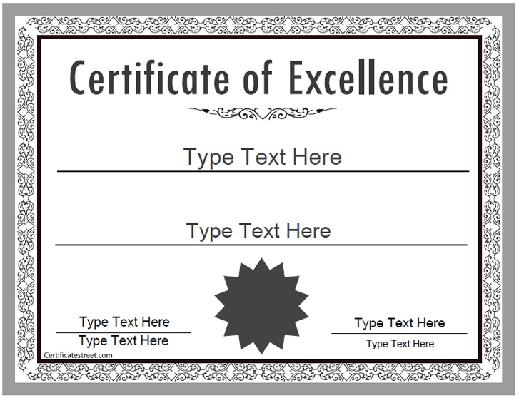 Business certificate certificate of excellence for Speech contest certificate template