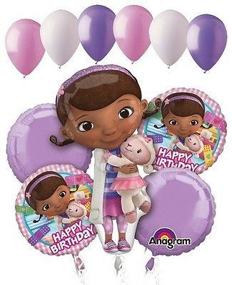 11 pc Doc Mcstuffins Happy Birthday Balloon Bouquet Party Disney Doctor Girl Vet