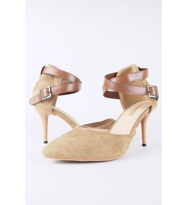 3f85fe32f43 LMS Beige Suede Pointed Toe High Heel Shoe With Tan Ankle Strap ...