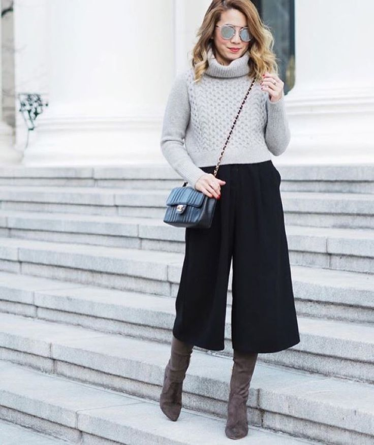 """""""Stay work week chic in a culottes and boot combo ala @laminlouboutins 