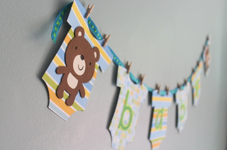 Teddy Bear Baby Shower Banner, Boy.
