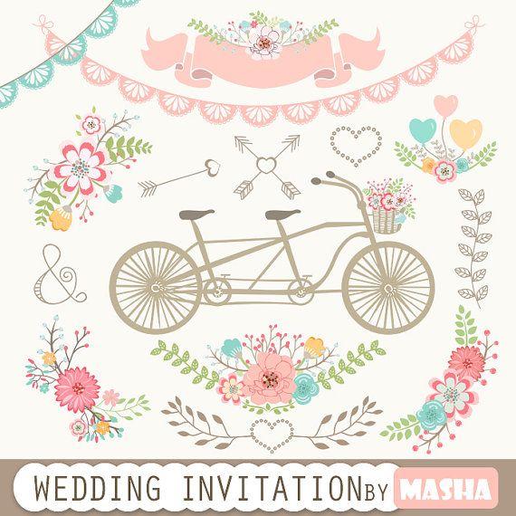 Matrimonio invito Clipart: Invito a nozze con di MashaStudio