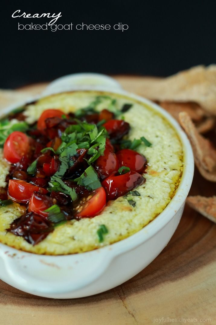 A quick appetizer recipe perfect for the holidays, this Baked Goat Cheese Dip will rock your world!   www.joyfulhealthyeats.com