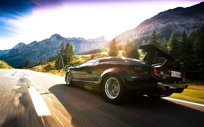 Download wallpapers Lamborghini Countach, road, motion blur, supercars, black Countach, Lamborghini