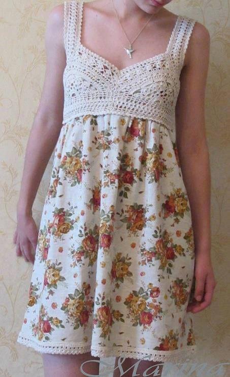 Vestido combinado con crochet