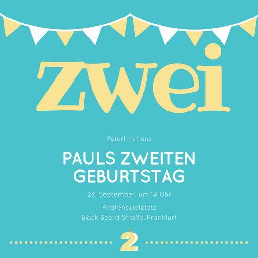 Zweiter Geburtstag, Einladungskarte mit Text-Beispiel #Zwei #Geburtstag #Einladungskarte #gratis