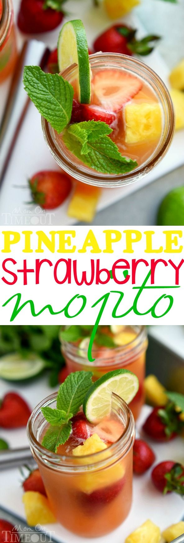 Perfectly cool, sweet, and SO refreshing, this fruit-infused Pineapple Strawberry Mojito cocktail has it all! (Can be made virgin!)   MomOnTimeout.com