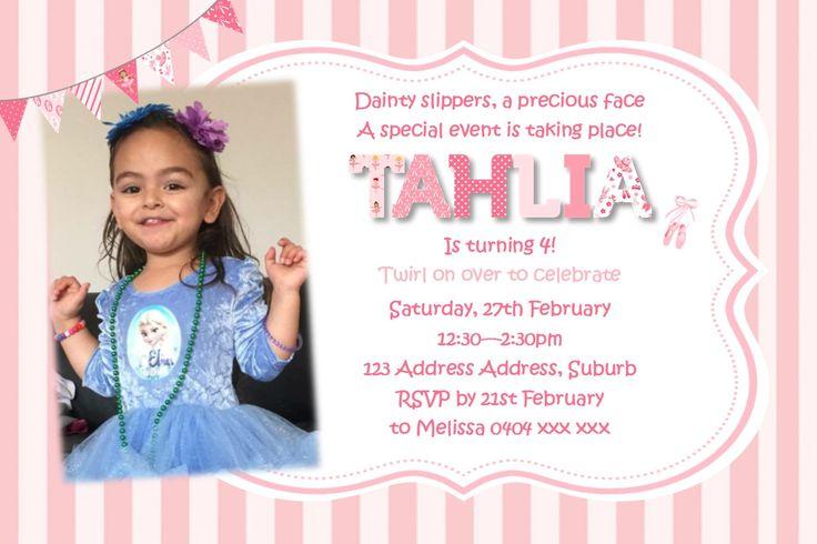 Ballerina Birthday Invitation - Any Age - Personalised Photo Invite by KleezPrints on Etsy