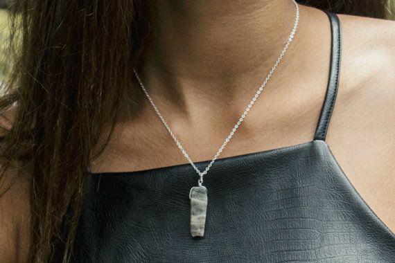 Raw Labradorite Necklace Silver Chain Gemstone by IndigoLizard