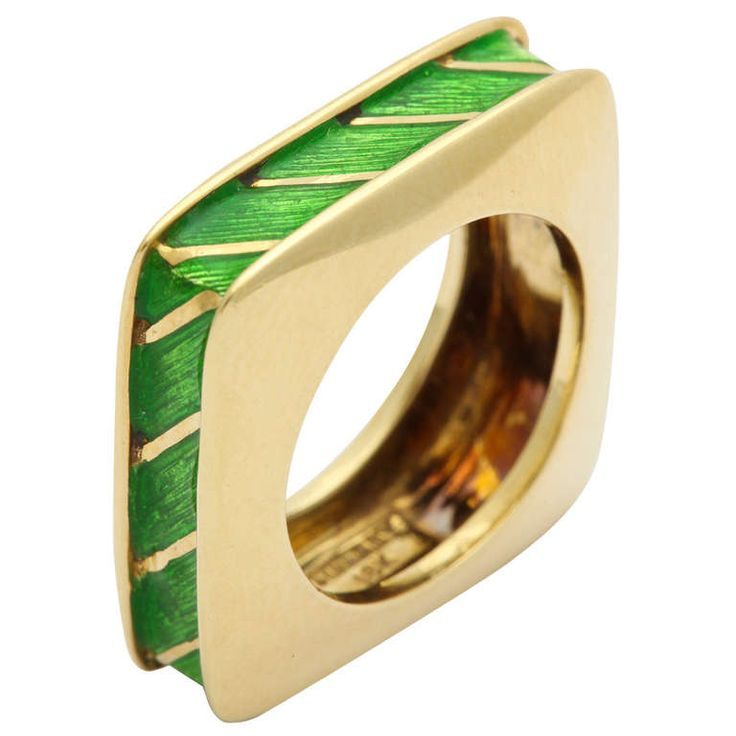 Tiffany & Co. Enamel Gold Ring | From a unique collection of vintage band rings at https://www.1stdibs.com/jewelry/rings/band-rings/