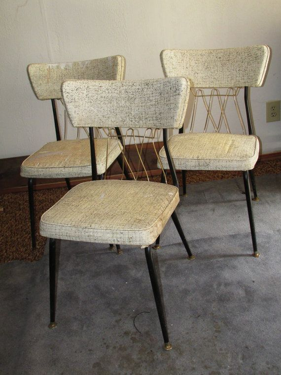 Mid Century Virtue Brothers Black And Brass Dinette Chairs