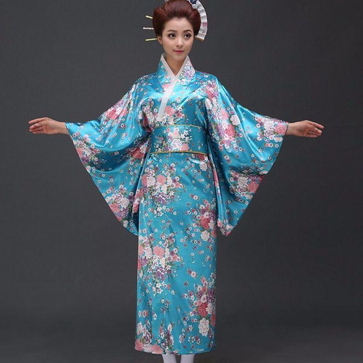 Free Shipping Lake blue Vintage Japanese Women's Polyester Satin Kimono Yukata Mujeres Quimono Evening Dress Flower One Size