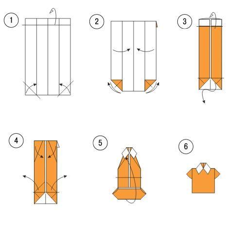 Рубашка из оригами без галстука