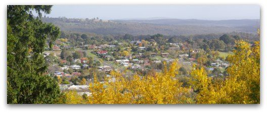 Stunning view over Daylesford from the Wombat Hill Botanical Gardens