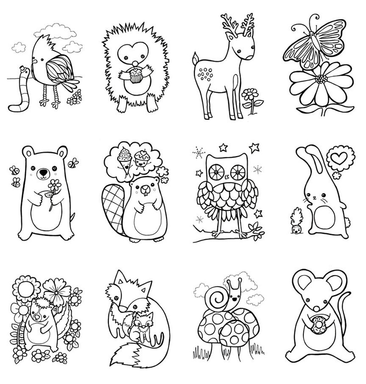 Coloring Book Woodland Animals Easter Children Craft