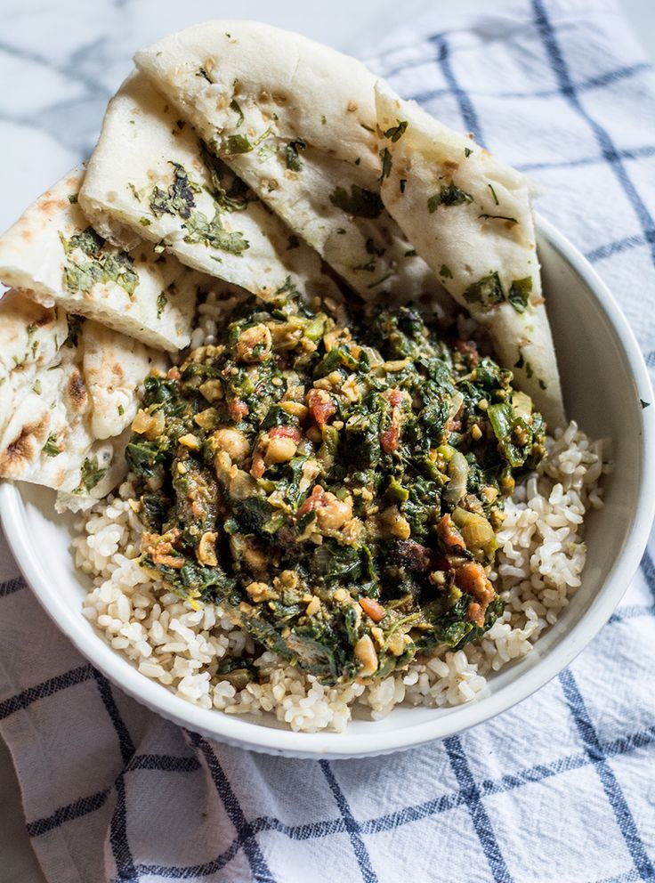 Spinach Masala with Organic Brown Rice and Naan Bread   Lemons and Basil