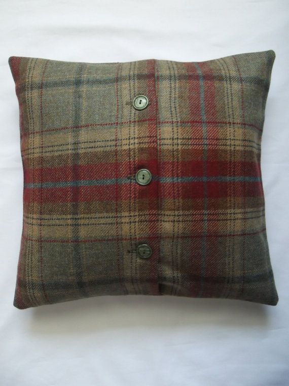 Green and red tartan cushion cover with buttoned by janmakes, £15.00