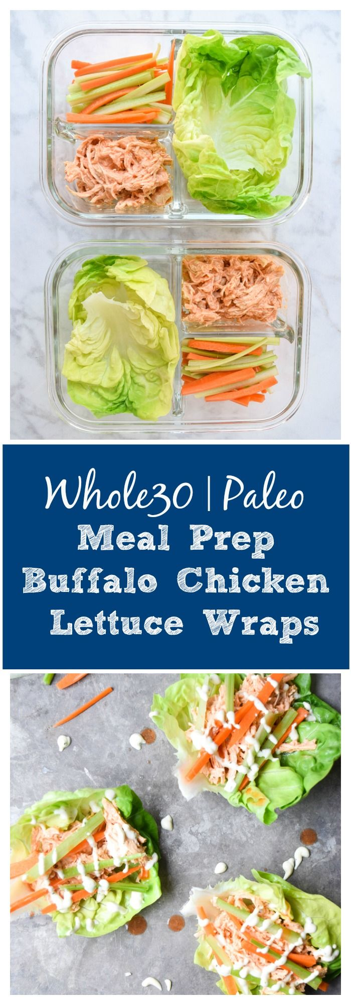 Meal Prep Buffalo Chicken Lettuce Wraps (Whole30 Paleo) - get your buffalo chicken fix with these Whole30 Meal Prep Buffalo Chicken Lettuce Wraps! Healthy, easy, and packed with tons of protein and awesome flavor! | tastythin.com