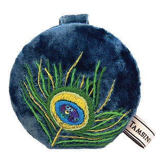 This compact mirror has a plush velvet outer and features our divine Peacock design.