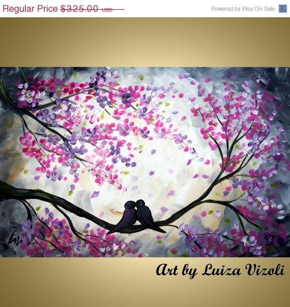 Original Painting Whimsical Love Birds by LUIZAVIZOLI
