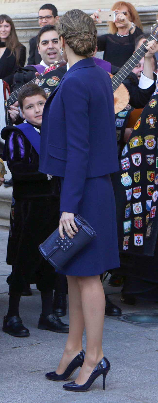 12 October 2015 - Queen Letizia attends the Dia de la Fiesta Nacional - dress by Felipe Varela