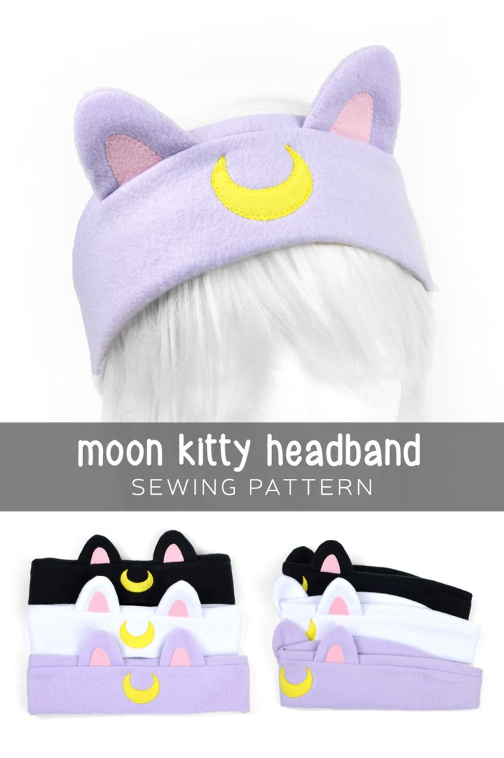 """Free sewing tutorial: Make a cute kitty headband done up like Luna, Artemis, or Diana. Available in head sizes 19""""-25"""""""