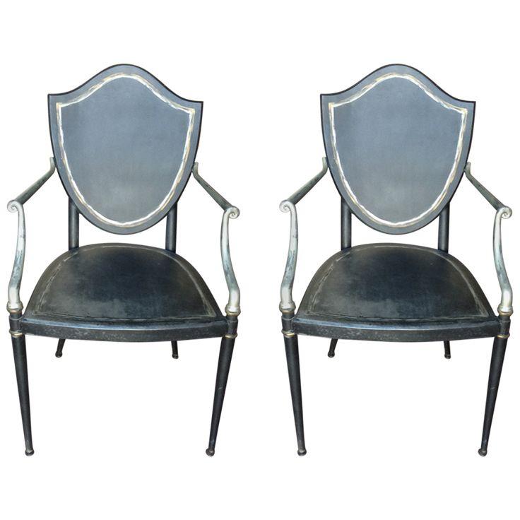 CURREY & COMPANY Hollywood Regency Style Iron Armchairs