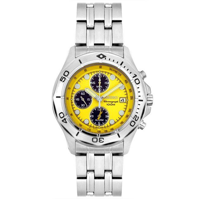 watch yellow military men thunderbolt chronograph swiss dial steel watches s