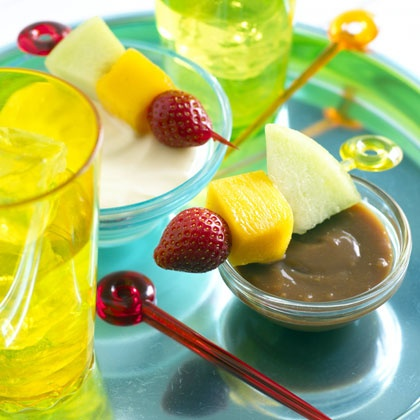 Fruit Skewers with Caramel Dip | Fun Finger Foods for Kids | Food | Disney Family.com#Fruit Skewers with Caramel Dip;2#Fruit Skewers with Caramel Dip;2