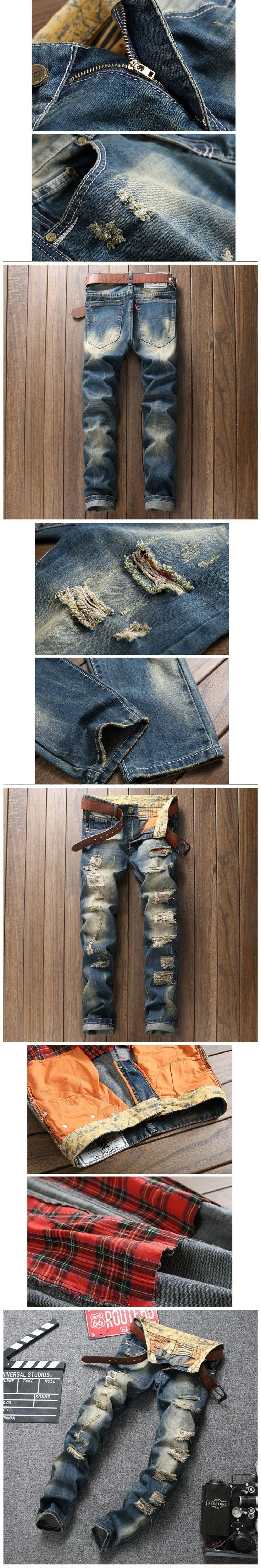 Fashion Hip Hop Denim Mens Jeans With Holes Men's Jeans Straight Pants Men Jeans 2017 pantalon hombre Denim Pants Trouser BP793
