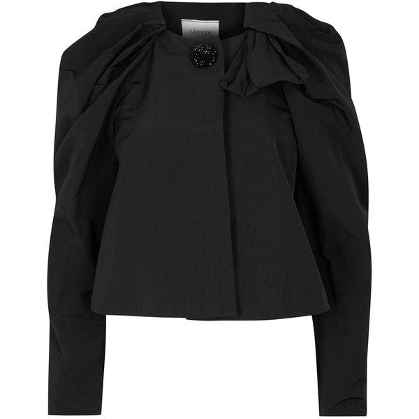 Womens Smart Jackets Lanvin Black Cropped Faille Jacket (£1,390) ❤ liked on Polyvore featuring outerwear, jackets, puff sleeve jacket, oversized jacket, cropped jacket, lanvin jacket and black jacket