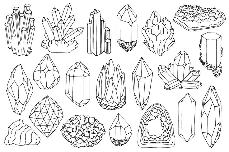Watercolor crystals, minerals, gems clipart set by Just create ...