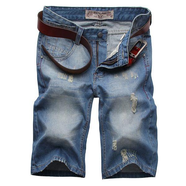 Sale 25% (33.12$) - Worn Denim Shorts Straight Thin Slim Mens Cotton Shorts Knee-length Jeans Bermudas
