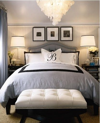 "Yes! Lighting on each side. Fan up above. Symmetry. Simple headboard. Colors are nice too. See the window on the left and ""chest"" at foot of bed???! Very nice."