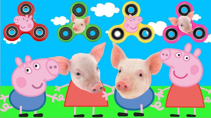 Peppa Pig ANIMALS Wrong Dress FIDGET SPINNERS Baby Learn colors Finger F...