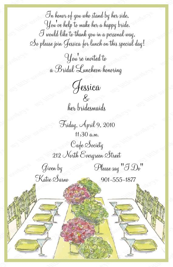 10 Bridal Luncheon Invitations with Envelopes.  Free Return Address Labels