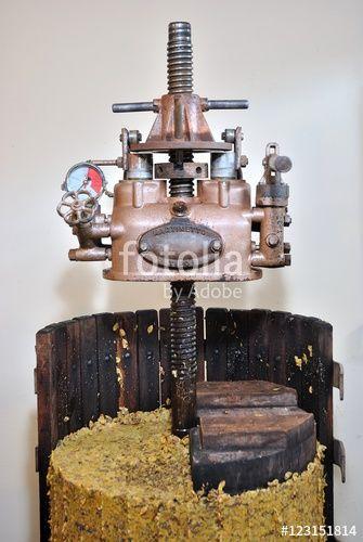 Torchio vinario con martinetto idraulico con vinaccia pressata