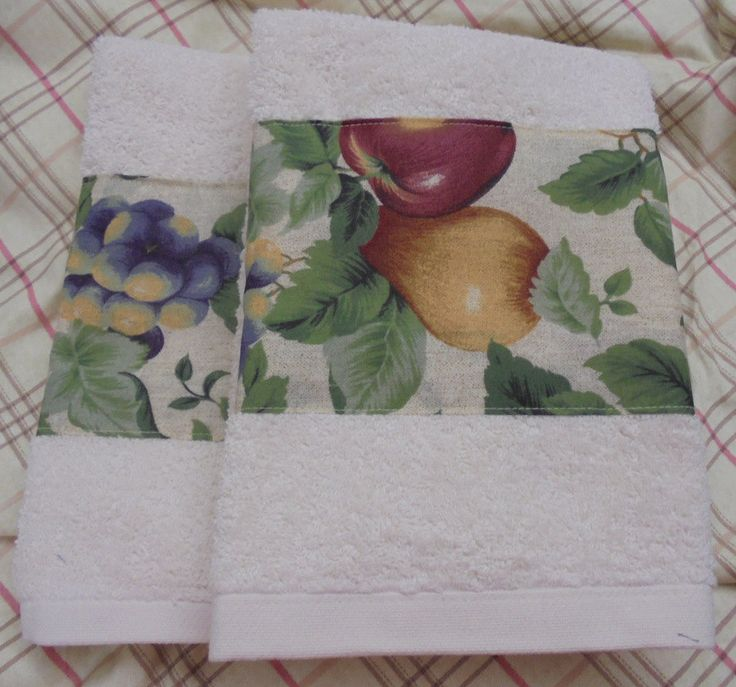 SONOMA CREAM Floral new Fabric - Custom Decorated Hand Towels - (2) Cream Hand Towels by Sew1Pretty on Etsy