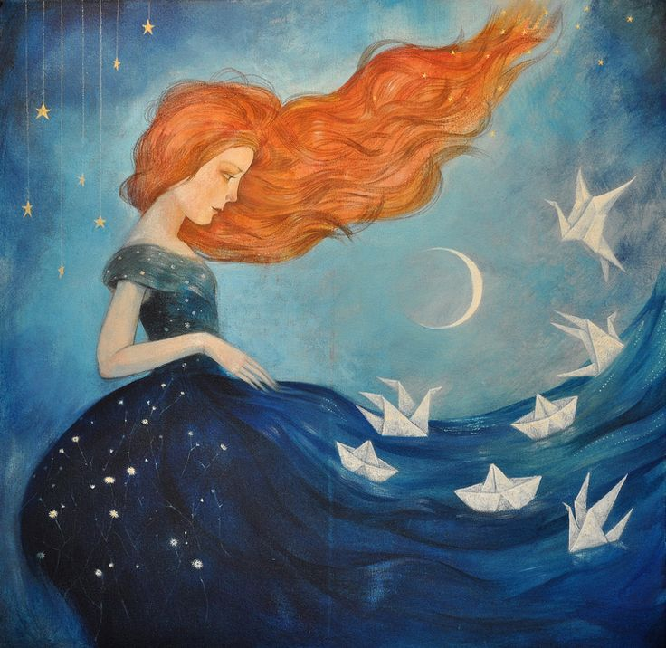 """Lucy Campbell, """"Contemplating Departure"""".  I do love the little origami boats and cranes (specially that crane taking to flight)."""
