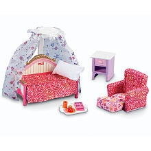 Fisher-Price Loving Family Dollhouse Furniture Set - Kids Bedroom. The bed has a spring in it, as far as I remember.